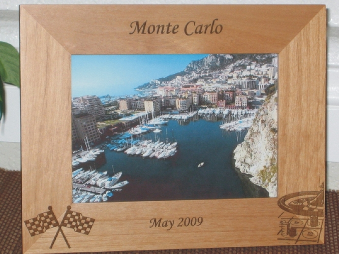 Monte Carlo Picture Frame - Personalized Frame - Laser Engraved Flag & Roulette