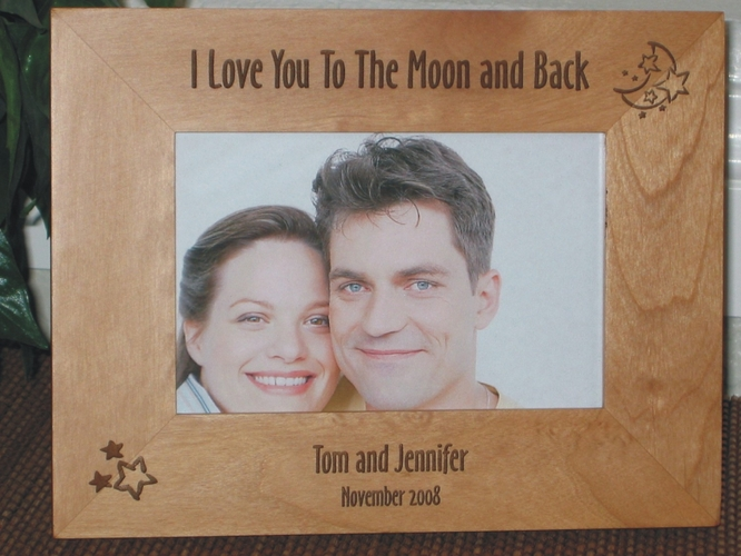 Moon Picture Frame - Personalized Frame - Laser Engraved Moon & Stars