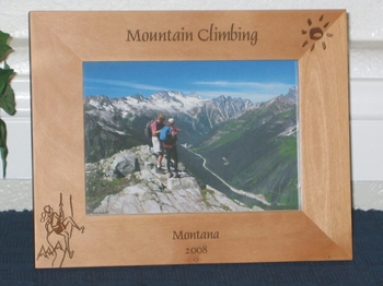 Mountain Climbing Picture Frame - Personalized Frame - Laser Engraved Mountain Climber (Male or Female)