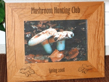 Mushroom Picture Frame - Personalized Frame - Laser Engraved Mushrooms
