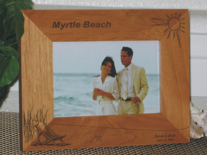Myrtle Beach Picture Frame - Personalized Frame - Laser Engraved Beach Theme