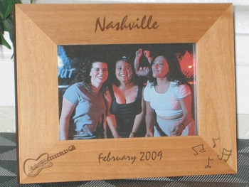 Nashville Picture Frame - Personalized Frame - Laser Engraved Guitar & Music Notes