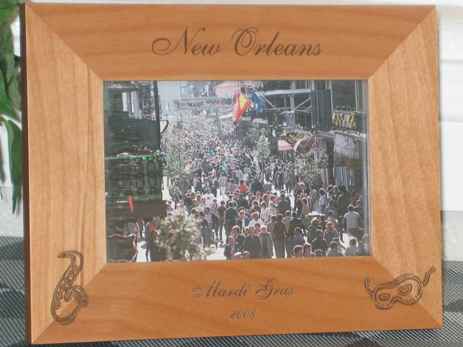 New Orleans Picture Frame - Personalized Frame - Laser Engraved Sax & Mask