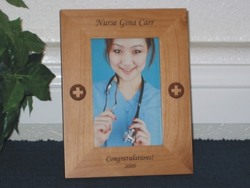 Nurse Picture Frame - Personalized Frame - Laser Engraved Medical Symbol for RN