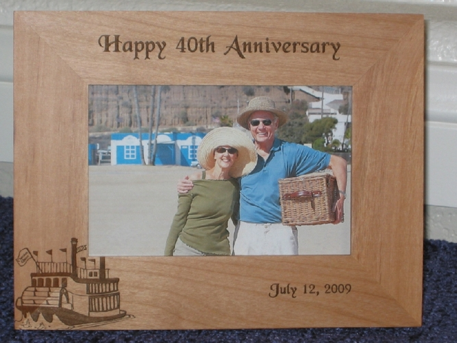 Paddle Wheel Boat Picture Frame - Personalized Frame - Laser Engraved Paddle Wheel Boat
