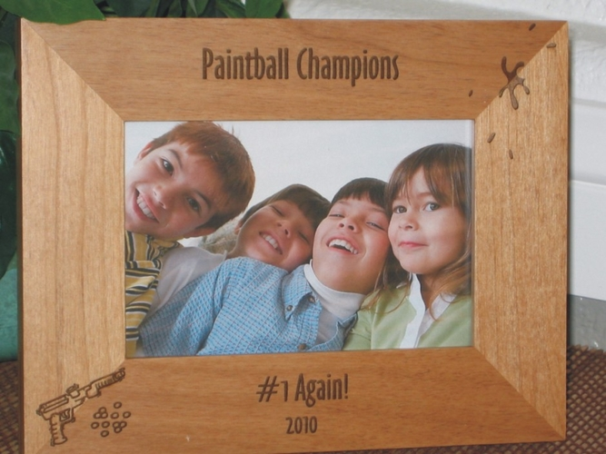 Paintball Picture Frame - Personalized Frame - Laser Engraved Paint Ball Gun & Splat
