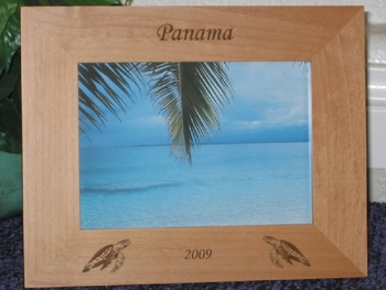 Panama Picture Frame - Personalized Frame - Laser Engraved Sea Turtles