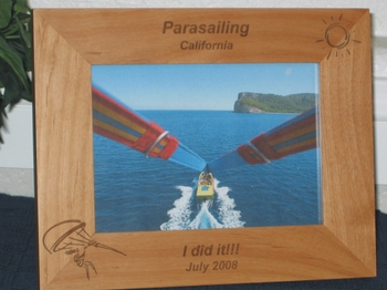 Parasailing Picture Frame - Personalized Frame - Laser Engraved Parasailing and Sun