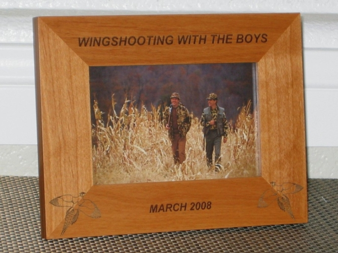 Pheasant Picture Frame - Personalized Hunting Frame - Laser Engraved Hunting Pheasant