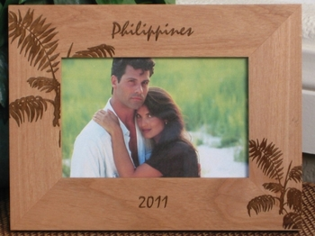 Philippines Picture Frame - Personalized Frame - Laser Engraved Tropical Palms