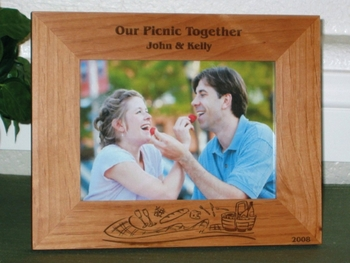 Picnic Theme Picture Frame - Personalized Frame - Laser Engraved Picnic Theme
