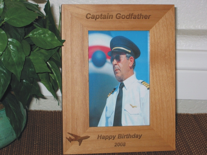 Pilot Picture Frame - Personalized Frame - Laser Engraved Airplane