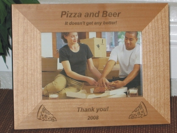 Pizza Picture Frame - Personalized Frame - Laser Engraved Pizza Slices