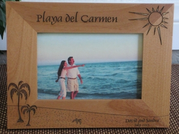 Playa del Carmen Picture Frame - Personalzied Frame - Laser Engraved Beach Theme