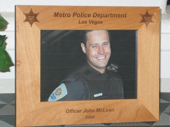 Police Picture Frame - Personalized Frame - Laser Engraved Police Badge