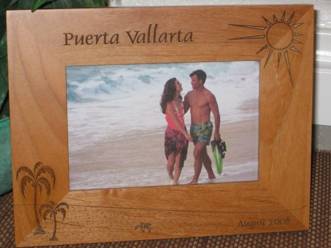 Puerta Vallarta Picture Frame - Personalized Frame - Laser Engraved Palm Beach Theme
