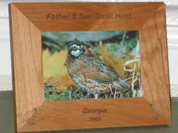 Quail Hunting Picture Frane - Personalized Frame - Laser Engraved Quails