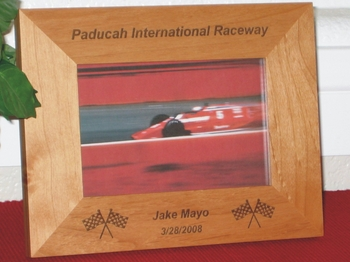 Race Picture Frame - Personalized Frame - Laser Engraved Race Flags