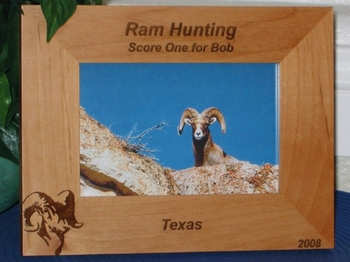 Ram Hunting Picture Frame - Personalized Frame - Laser Engraved Ram