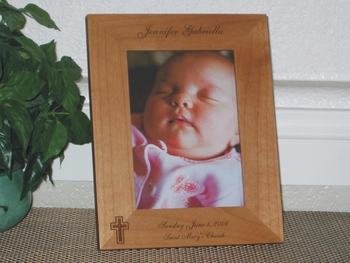 Religious Picture Frame - Personalized Frame - Laser Engraved Cross