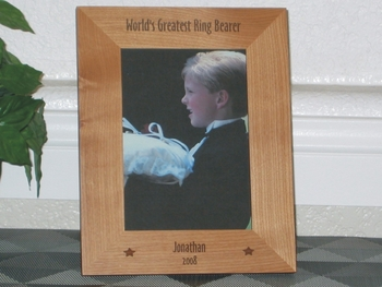 Ring Bearer Picture Frame - Personalized Wedding Frame - Laser Engraved Stars