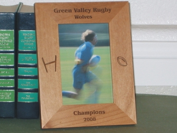 Rugby Picture Frame - Personalized Frame - Laser Engraved Rugby Ball and Goal Post