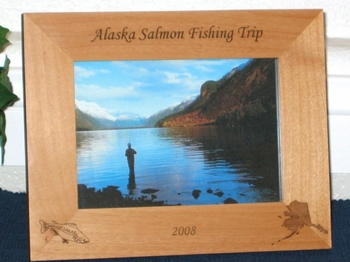 Salmon Fishing Picture Frame - Personalized Frame - Laser Engraved Alaska and Salmon or Two Salmons