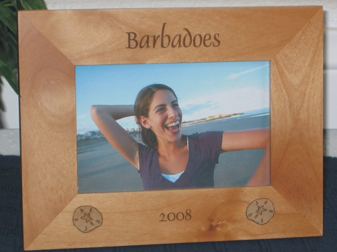 Sand Dollar Picture Frame - Personalized Beach Frame - Laser Engraved Sand Dollars