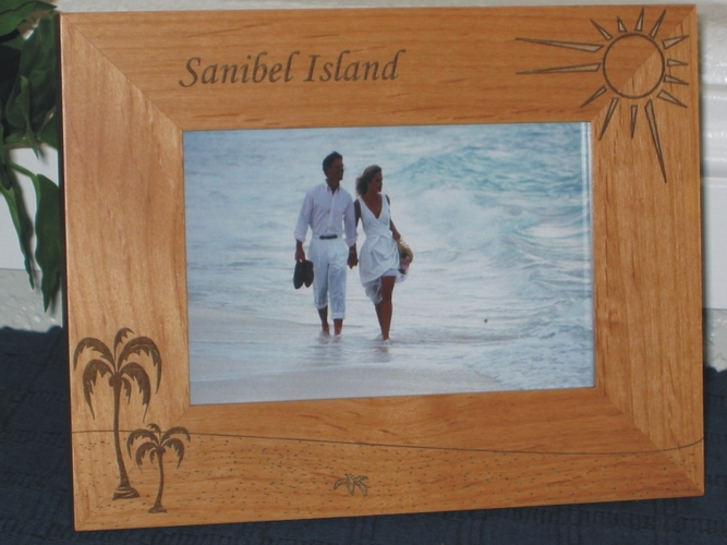 Sanibel Island Picture Frame - Personalized Frame - Laser Engraved Palm Trees & Sun