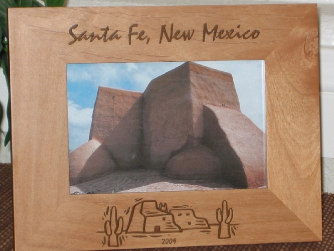 Santa Fe Picture Frame - Personalized Frame - Laser Engraved Adobe