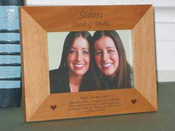 Sisters Picture Frame - Personalized Frame - Laser Engraved Sister Poem