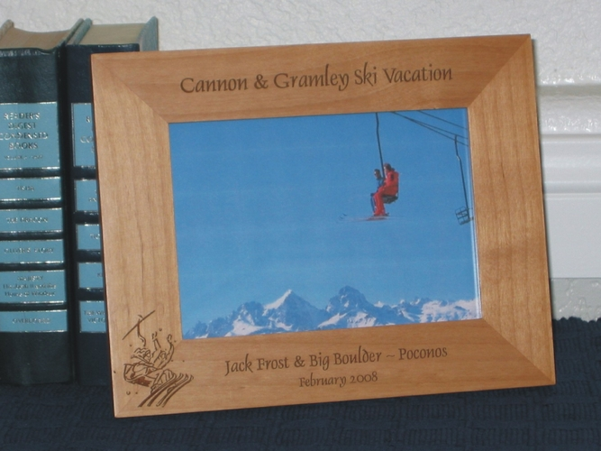 Ski Lift Picture Frame - Personalized Vail Frame - Laser Engraved Ski Lift