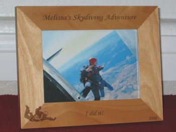Skydiving Picture Frame - Personalized Frame - Laser Engraved Skydiver