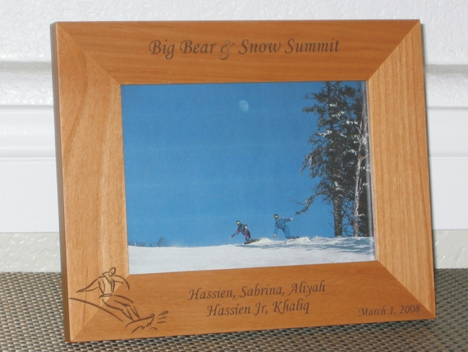 Snowboarding Picture Frame - Personalized Frame - Laser Engraved Snowboarder