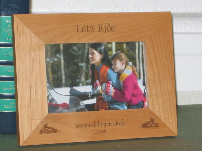 Snowmobile Picture Frame - Personalized Frame - Laser Engraved Snowmobiles