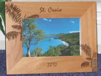 St Croix Picture Frame - Personalized Frame - Laser Engraved Palm Leafs