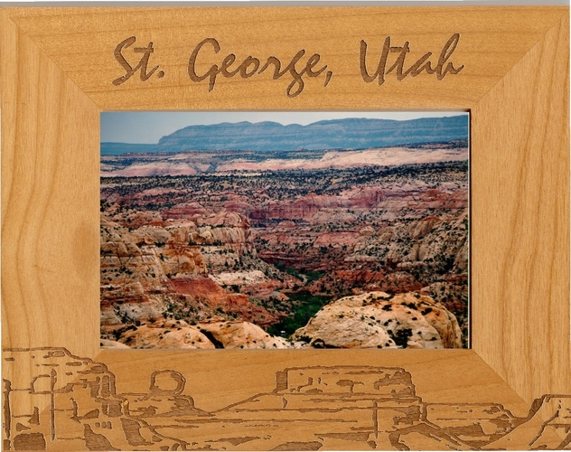 St George Utah Picture Frame - Personalized Frame - Laser Engraved Utah Mountains
