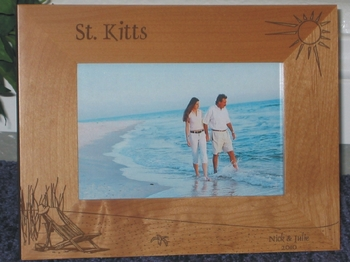 St Kitts Picture Frame - Personalized Frame - Laser Engraved Beach Theme