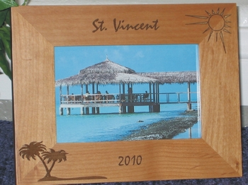 St Vincent Picture Frame - Personalized Frame - Laser Engraved Palms & Sun