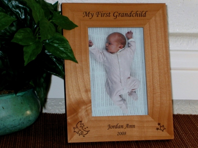 Star Moon Picture Frame - Personalized Baby Frame - Laser Engraved ...