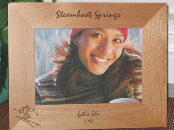 Steamboat Springs Picture Frame - Personalized Frame - Laser Engraved Skier