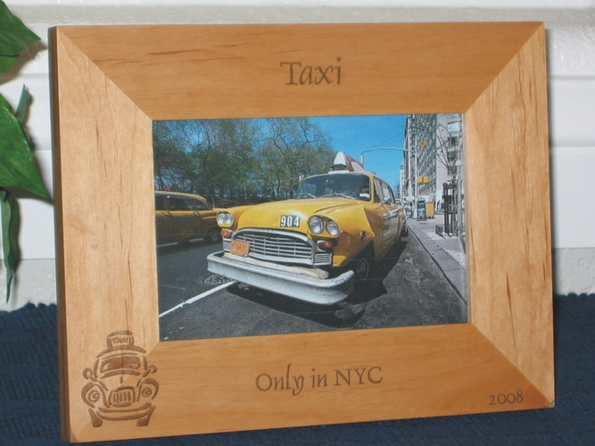 Taxi Cab Picture Frame - Personalized Frame - Laser Engraved Taxi Cab