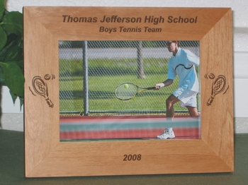 Tennis Picture Frame - Personalized Frame - Laser Engraved Tennis Ball & Racket
