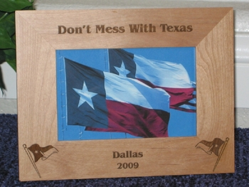 Texas Flag Picture Frame - Personalized Frame - Laser Engraved Texas Flags