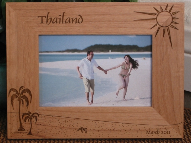 Thailand Picture Frame - Personalized Frame - Laser Engraved Beach Theme