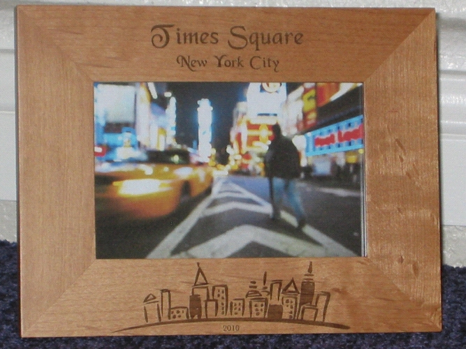 Times Square Picture Frame - Personalized Frame - Laser Engraved NYC Skyline