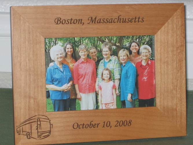 Tour Bus Picture Frame - Personalized Frame - Laser Engraved Tour Bus