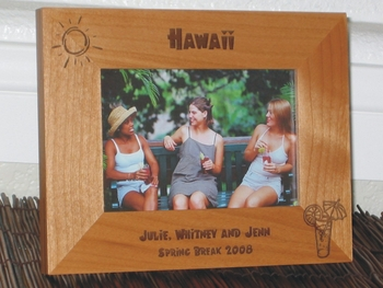 Tropical Drink Picture Frame - Personalized Frame - Laser Engraved Tropical - Sun
