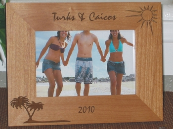 Turks & Caicos Picture Frame - Personalized Frame - Laser Engraved Palms & Sun