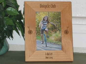 Unicycle Picture Frame - Personalized Frame - Laser Engraved Unicycle